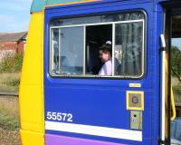 Driver awaiting the all clear at St Annes in September 2013 with a Colne - Blackpool South train.<br><br>[Veronica Clibbery&nbsp;24/09/2013]