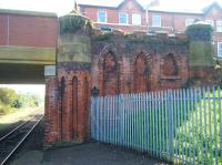 Part of the ornate road bridge carrying the B5233 at the south end of St Anne's station. View is towards Preston on 13 September 2013.<br><br>[Veronica Clibbery&nbsp;13/09/2004]