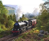K1�2-6-0 No.�62005 gives its all at the start of the long climb up to Glenfinnan Viaduct with <I>The Jacobite</I> on 30 September 2013.<br><br>[John Gray&nbsp;30/09/2013]