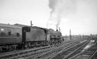 Jubilee 4-6-0 no 45573 <I>Newfoundland</I> takes the 12.40pm Gourock - Leicester/Manchester 'CTAC Scottish Tours Express' south out of Carlisle on 17 July 1965. [See image 29081]<br><br>[K A Gray&nbsp;17/07/1965]