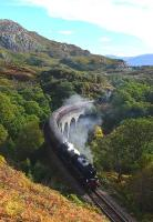62005 crosses Arnabol Viaduct with <I>The Jacobite</I> on 1 October. This viaduct is not so well known as Loch nan Uamh about half a mile away. The picture would not have been possible a few years ago as the embankment was very overgrown but a fire�has cleared it.<br><br>[John Gray&nbsp;01/10/2013]