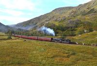 K1 No.62005 nears the top of the gradient near the Creag Ghobhar Tunnels on 30 September and will start the descent to Glenfinnan with the return working of <I>The Jacobite</I>.<br><br>[John Gray&nbsp;30/09/2013]