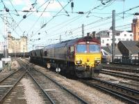 A coal train about to pass Newcastle Central westbound in July 2004 behind EWS 66229.  <br><br>[John Furnevel&nbsp;06/07/2004]