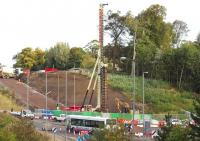 Looking north east over Hardengreen Roundabout on 5 October 2013 with drilling activity taking place on the far side. The A7 runs left to right across the picture.<br><br>[John Furnevel&nbsp;05/10/2013]