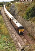 West Coast 57314 about to enter Kinghorn Tunnel with <I>The Statesman</I> charter from Newport to Inverness on 5 October.  47786 brings up the rear of the special.<br><br>[Bill Roberton&nbsp;05/10/2013]