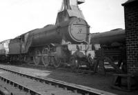 One of the Waverley route regulars stands on Canal shed, Carlisle, in the summer of 1963. V2 2-6-2 no 60816, an Edinburgh based locomotive throughout the post-nationalisation era, was finally withdrawn from St Margarets in October 1965. <br><br>[K A Gray 01/06/1963]