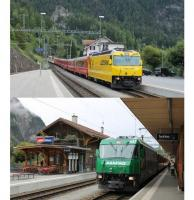 Two Rhaetian services crossing at Filisur illustrate the variety of advertising liveries on the Ge 4/4 III class. Bright yellow 644 <I>Savognin</I> on a train for Chur also has the St. Moritz portion of the westbound <I>Glacier Express</I> in the consist. Green 647 <I>Grusch</I> is heading for St. Moritz with a Regio Express.  <br><br>[Mark Bartlett&nbsp;16/09/2013]
