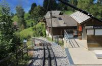 Driver's view as a train from Rochers-de-Naye negotiates the steep (around 1:5) descent to Montreux passing Haut-de-Caux, one of many wayside stations on the line. The angle between the short horizontal platform and the 800mm <I>rack track</I> is very noticeable.  <br><br>[Mark Bartlett&nbsp;09/09/2013]