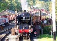 A train for Pickering stands at Goathland station platform 2 during the NYMR's <I>LNER Gala</I> weekend on 5 October 2013. The locomotive is A1 Pacific no 60163 <I>Tornado</I>.<br><br>[Colin Alexander&nbsp;05/10/2013]