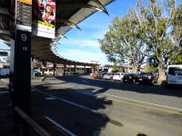 A good example of transport co-ordination, Bendigo Station with all its bus stances in May 2013. Bendigo was once the centre of a network of branches but buses have taken over. To find the actual station entrance, look above the red vehicle.<br> <br><br>[Colin Miller&nbsp;29/05/2013]