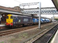 DRS 20302 tails one of the Yorkshire RHTT services, with 20305 leading, as it runs through Wakefield Westgate to reverse during its morning circuit on 9 October.<br><br>[David Pesterfield&nbsp;09/10/2013]