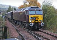 West Coast 57315 enters Pitlochry with the Edinburgh - Boat of Garten leg of <I>The Royal Scotsman</I> on 9 October.<br><br>[Bill Roberton&nbsp;09/10/2013]