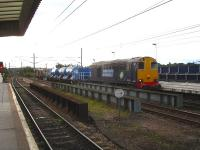 An RHTT service runs north into Wakefield Westgate on 9 October 2013 before reversing to continue along its leaf busting circuit. Leading locomotive is DRS 20305 with 20302 on the rear. <br><br>[David Pesterfield&nbsp;09/10/2013]