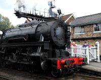 The south end of Grosmont station on 5 October featuring visiting US Army Transportation Corps class S160 2-8-0 no 6046, a visitor from the Churnet Valley Railway. <br><br>[Peter Todd&nbsp;05/10/2013]