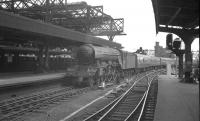 Heaton A3 60085 <I>Manna</I> comes off the High Level Bridge and into Newcastle Central on 23 June 1962. The train is the 8.55am summer Saturday ex-Filey [see image 32210].<br><br>[K A Gray&nbsp;23/06/1962]