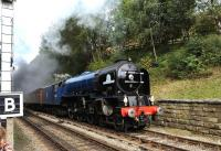 <I>Tornado</I> makes a fine sight at Goathland on 5th October 2013 during the NYMR's <I>LNER Weekend</I>.<br><br>[Peter Todd&nbsp;05/10/2013]