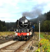 60163 <I>Tornado</I> with a train on the NYMR at Levisham on 5 October 2013.<br><br>[Peter Todd&nbsp;05/10/2013]