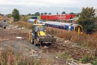 View north over the site of Edinburgh Gateway station on 14 October with a 158 passing.  The new station is expected to open in 2016.<br><br>[Bill Roberton&nbsp;14/10/2013]