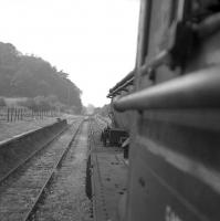 Looking west from footplate of B1 61118 at Buchlyvie station, thought to be in late 1958. The B1 was returning from Aberfoyle with the branch goods. [See image 45016]<br><br>[John Robin&nbsp;//1958]