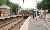 A train for Dalmuir runs into Hamilton West in the summer of 2006.<br><br>[John Furnevel&nbsp;01/08/2006]