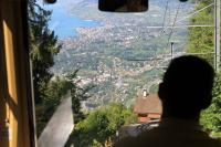 Driver's view of Montreux, far below but less than 20 minutes away, as the cog train from Rochers-de-Naye descends between Caux and Glion. <br><br>[Mark Bartlett&nbsp;09/09/2013]