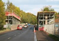 Traffic northbound on the A7 towards Edinburgh on Sunday 20 October passing the new Gore Glen bridge construction site. [See image 44856]<br><br>[John Furnevel&nbsp;20/10/2013]