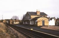 The 1864 station at Fearn, seen in January 1989 looking north towards the B9165 road bridge.<br><br>[Ian Dinmore&nbsp;/01/1989]