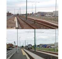 A recent <I>Then and Now</I> comparison at the Lindel Rd tram stop in Fleetwood looking north towards the town centre. The upper image shows the stop under construction in January 2011 while the line was closed. The lower image was taken from the same spot in August 2013. At this time the tramway had been open again for over a year but the new stop still looks pristine as <I>Flexity</I> 006 calls on a service heading for Starr Gate.<br><br>[Mark Bartlett&nbsp;27/01/2011]