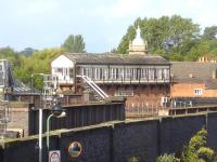 Crewe Junction signal box in October 2013, sited just beyond the end of Shrewsbury Station's platform 3. View across the tracks from the entrance to the former Howard Street goods depot, now the station car park. <br><br>[David Pesterfield&nbsp;17/10/2013]