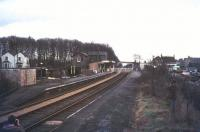Platform view at Histon on the old St Ives branch looking east towards Cambridge in 1977. This route has now become a guided busway [see image 43452]. [With thanks to all who responded] <br><br>[Ian Dinmore&nbsp;//1977]