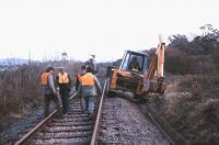 Tracklifting on the Bideford branch in December 1985, some three years after final closure of the line from Barnstaple. [See image 33298]<br><br>[Ian Dinmore /12/1985]