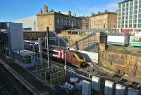 A CrossCountry Voyager leaving Haymarket on 29 October with the 08.20 from Aberdeen to Penzance.<br><br>[Bill Roberton&nbsp;29/10/2013]