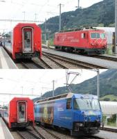 Disentis station has an end on connection between the Rhaetian and Matterhorn-Gotthard metre guage systems. Here MGB 108, the curiously named <I>Channel Tunnel</I>, comes off the eastbound <I>Glacier Express</I> and exchanges trains with RhB 652 <I>Vaz/Obervaz</I>, which will continue to Chur.<br><br>[Mark Bartlett&nbsp;14/09/2013]