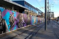 The Mural currently adorning the front of the new concourse at Haymarket, adjacent to the tram stop.<br><br>[Bill Roberton&nbsp;29/10/2013]