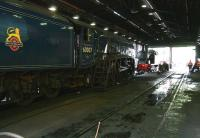 View through the running shed at Grosmont on 6 June 2013. Locomotives receiving attention on this occasion are A4 60007 <I>Sir Nigel Gresley</I> and Lambton Tank no 29.<br><br>[John Furnevel&nbsp;06/06/2013]
