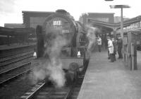 The RCTS <I>Rebuilt Scot Commemorative Railtour</I> waits to leave Carlisle platform 4 for Crewe on 13 February 1965. Locomotive in charge is 46115 <I>Scots Guardsman</I>. [See image 27040]<br><br>[K A Gray&nbsp;13/02/1965]