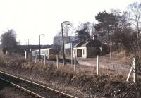 View from the north end of Wrexham General showing a DMU at the surviving platform of the former Exchange station, by this time Wrexham General's platform 4. [See image 45153]<br><br>[Ian Dinmore&nbsp;/03/1985]
