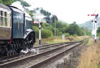 About to depart south from Levisham on 5 October 2013 is 60007 <I>Sir Nigel Gresley</I>, hauling a train of pullman stock.<br><br>[Colin Alexander&nbsp;05/10/2013]