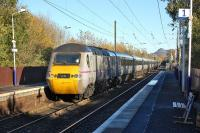 The 09.37 from Doncaster to Aberdeen, diverted off the ECML because of engineering work, passes through Kingsknowe on Sunday 10 November.<br><br>[Bill Roberton&nbsp;10/11/2013]