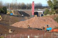 Looking north towards the breached section of the Edinburgh City Bypass on 10 November 2013 with the railway tunnel under construction.<br><br>[Bill Roberton&nbsp;10/11/2013]