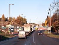 Work in progress at Hardengreen Roundabout. View north along the A7 approach on 12 November 2013.  <br><br>[John Furnevel&nbsp;12/11/2013]