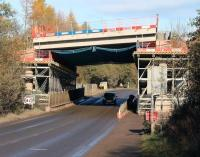 With its recently added deck now in place, the Gore Glen bridge spans the A7 on 13 November 2013.<br><br>[John Furnevel&nbsp;13/11/2013]
