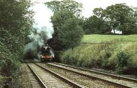 <I>Flying Scotsman</I> northbound near Rise Hill Tunnel on the Settle & Carlisle line on 30 September 1978 with <I>The Lord Bishop</I>. The special was bound for Appleby, where a memorial service was held for Bishop Eric Treacy.<br><br>[Ian Dinmore&nbsp;30/09/1978]
