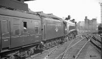 An unidentified ECML working preparing to leave Newcastle Central in the 1960s behind immaculate looking A4 Pacific no 60009 <I>Union of South Africa</I>.<br><br>[K A Gray&nbsp;//]