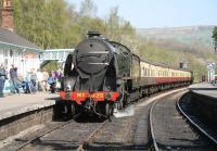 NYMR S15 4-6-0 no 825 at Grosmont in April 2009 with a train for Pickering.<br><br>[John Furnevel&nbsp;20/04/2009]