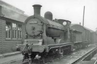 Ex-Caledonian 0-6-0 no 57634 in the shed yard at Edinburgh's Dalry Road in May 1963. The locomotive was withdrawn from 64C in August that year.<br><br>[John Robin&nbsp;31/05/1963]