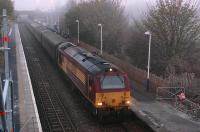 The morning Cardenden - Edinburgh commuter service arrives at a ch..ch.. chilly Rosyth behind 67030 on 25 November. Photographed from the temporary footbridge provided while station improvements are underway.�<br><br>[Bill Roberton&nbsp;25/11/2013]