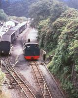 A Vale of Rheidol locomotive running round at Devils Bridge in 1974.<br><br>[Ian Dinmore&nbsp;//1974]