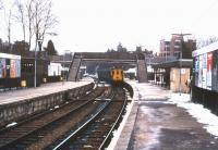 DEMU arriving at East Grinstead on a snowy 29th December 1987.<br><br>[Ian Dinmore&nbsp;29/12/1987]