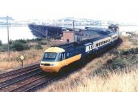 A BR InterCity 125 comes off the Tay Bridge in 1982 with a mid morning Aberdeen - Kings Cross service.<br><br>[John Furnevel&nbsp;11/05/1982]
